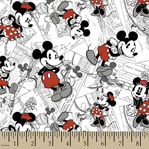 Springs Creative Products Group Disney Mickey Vintage Comic Strip Character Fabric, 43 by 44-Inch Wide, Red
