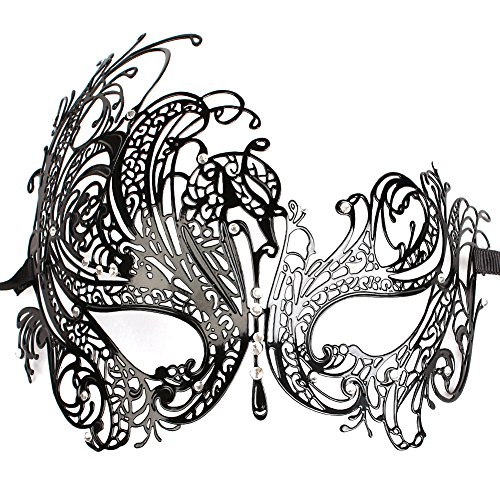 Zhenqi Metal Laser Cut Masquerade Venetian Mask Black Luxury Rhinestones Party Mask Mardi Gras Party Mask.( Black )