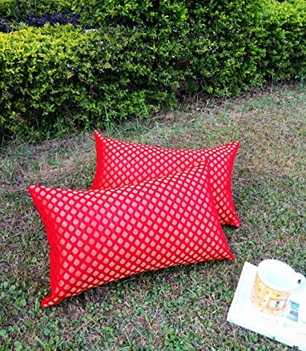 Premium Quality 'RAINBOW RED & GOLDEN' Brocade LONG Cushion Covers (Set of 2) (12