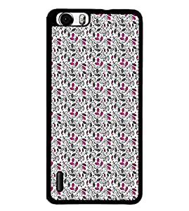 Fuson Premium Pink Flowers Metal Printed with Hard Plastic Back Case Cover for Huawei Honor 6
