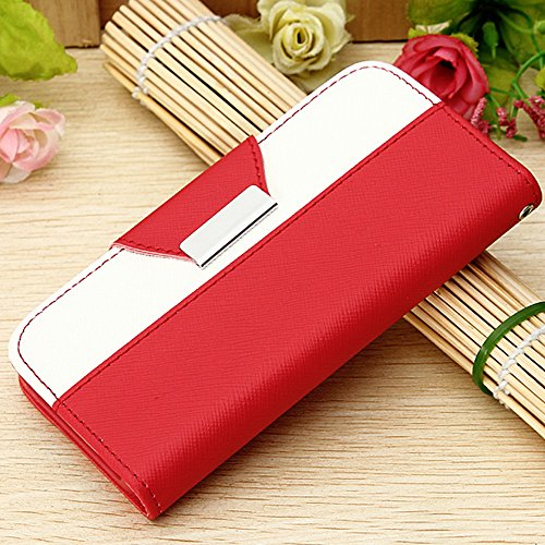 Mylife (Tm) Electric Crimson Red And White{Classic Design} Faux Leather (Card, Cash And Id Holder + Magnetic Closing + Hand Strap) Slim Wallet For The Iphone 5C Smartphone By Apple (External Textured Synthetic Leather With Magnetic Clip + Internal Secure