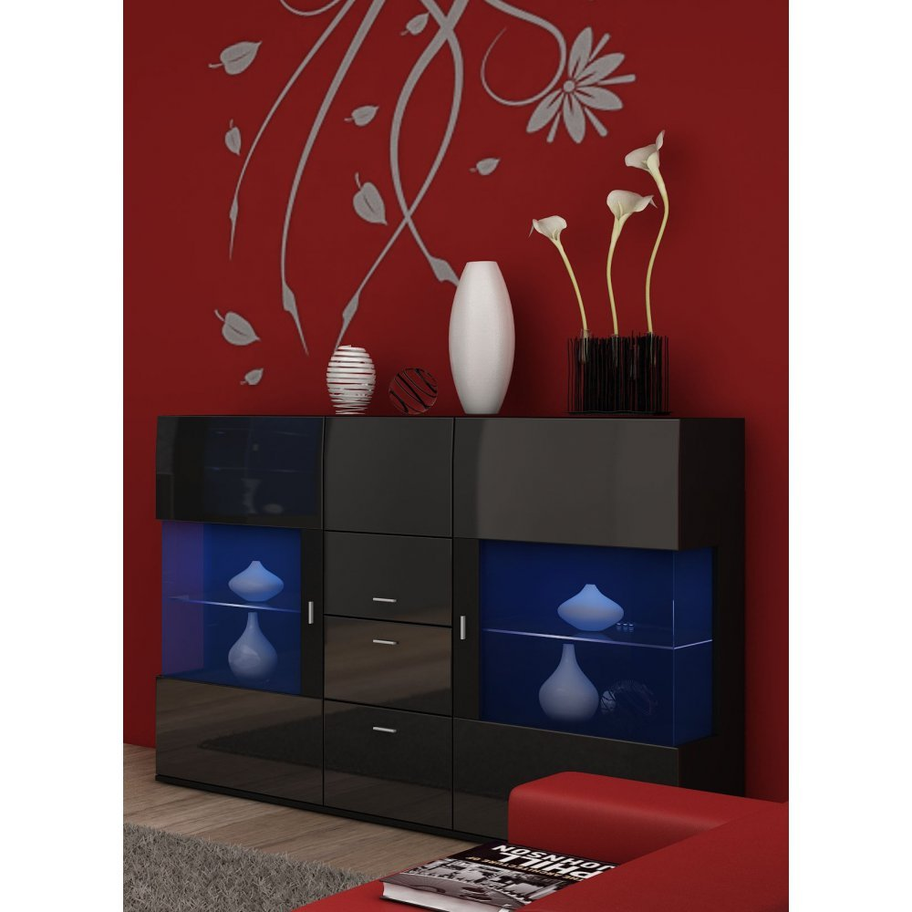 JUSThome Jena Kommode Sideboard Wohnzimmerschrank (HxBxT): 130x154x41 Farbe: Schwarz Matt / Schwarz Hochglanz