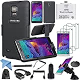 EEEKit 12-in-1 Starter Kit Accessories Bundle for Samsung Galaxy Note 4, Hard Hybrid Case Cover Military Stand Holster Locking Belt Swivel Clip Combo Case+TPU Back Cover Case+ 3PCS Clear Screen Protector + OTG Card Reader + Car Mount Windshield Stand Holder + USB Car Charger + Micro USB Host OTG cable + Universal Stylus Pen+ 3.5mm Male to Male Spring Audio Cable + USB 2.0 A Male to Micro USB B 5Pin Data Charging Cable + Cleaning Cloth + EEEKit Pouch