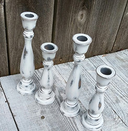 Set of 4 SHABBY CHIC True White Chippy Candle Holders - Rustic Candleholders - Taper Candlesticks	 1