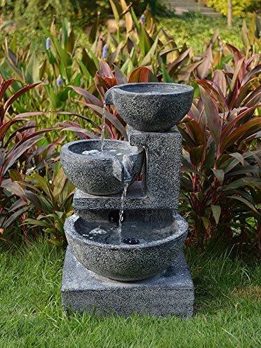 Nexos fontaine solaire cascade fontaine à oiseaux jardin deko pompe de fontaine d'eau pour bassin de jardin et étangs, terrasses, balcons, très décoratif, nouveau modèle avec pompe-iNSTANT sOLARTEICHDEKORATION-sTART-fonction, lampe lED solaire de «granitschalen-cascade de fontaine d'eau avec lumière lED de lampe de jardin