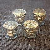 Luna Bazaar Vertical Motif Mercury Glass Tea Light Candle Holders (3-Inch, Silver, Set of 4)