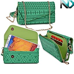 Womens Wristlet Clutch Blu Studio 5.0 D520 with Credit Card Holder & Removable Crossbody Chain| Tribal Aztec Mayan Pattern| Spanish Green Hunter Lime Crime + ND Cable Tie