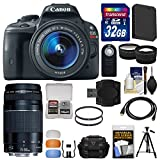Canon EOS Rebel SL1 Digital SLR Camera & EF-S 18-55mm IS STM with 75-300mm III Lens + 32GB Card + Case + Battery + Tripod + Accessory Kit