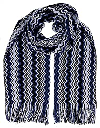 Missoni D4896 0002 Blue Wool Blend Crochet Knit Zigzag Scarf