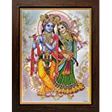 Lord Krishna / Shree Krishna / Shri Krishna With Radha / Radha-Krishna Poster With Frame (Size: 12x16 Inch Framed)