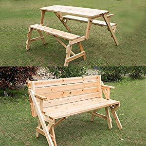 Outsunny 2 In 1 Convertible Picnic Table Garden Bench Patio Lawn Garden