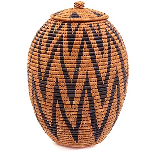 "Fair Trade Zulu Ilala Palm Ukhamba Basket 13.5-14.5"" Tall"