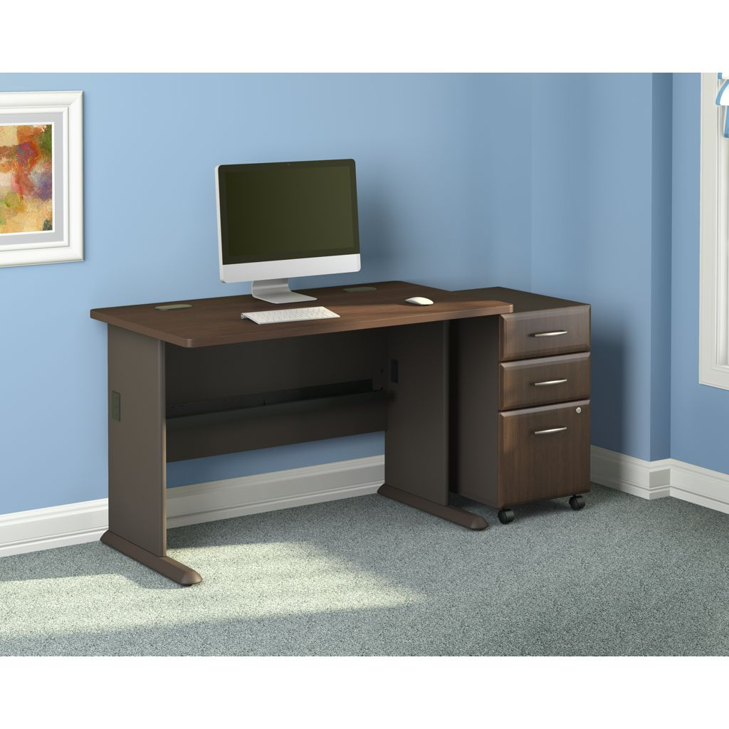 Bush business furniture bush furniture 60 inch desk with 3 drawer file and chair Home furniture on amazon