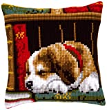 Cross Stitch Cushion Dog Sleeping