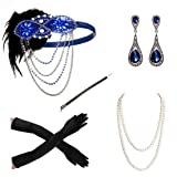 1920s Accessories Headband Necklace Gloves Cigarette Holder Flapper Costume Accessories Set for Women(1g) (Color: 1g, Tamaño: Normal)