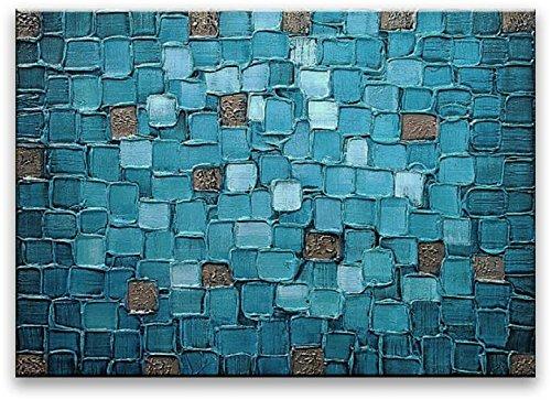 絵画 油絵  現代 模様 抽象画 インテリア キャンバス 『青いタイル』 壁掛け アメリカの手描き油彩モダンアートパネル