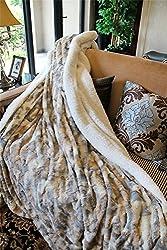 Tache Brown Russian Lynx Faux Fur Throw Blanket