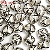 BoNaYuanDa 50 Pcs Jingle Bells Christmas Xmas Wedding Decoration Beads Jewelry Findings Charms (Silver, 25mm)