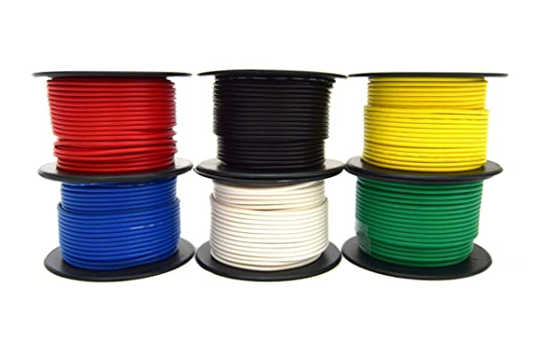18 Gauge 100 Feet Automotive Primary Remote Power Ground Hook Up Wire 6 colors