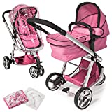 TecTake 3 in 1 Pushchair stroller combi stroller buggy baby jogger travel buggy kid's stroller pink rain cover mosquito net