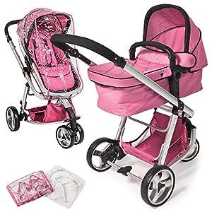 Tectake 3 en 1 sillas de paseo coches carritos para bebes convertible rosa beb - Tectake silla de coche para ninos ...