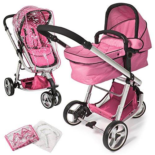 TecTake® 3 in 1 Kinderwagen Kombikinderwagen Buggy Babyjogger Reisebuggy Sportwagen Kids pink mit Moskitonetz und Regenhaube
