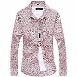 (メイク トゥ ビー) Make 2 Be メンズ 長袖 ピンク 花柄 コットン スリム シャツ 長袖 KB08 (Lサイズ)