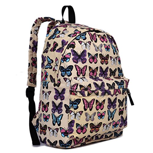 Butterfly Flower pois Retro Galaxy Fashion Zaino, (Butterfly Beige),