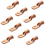 10pcs Purple Copper Terminal Lugs 1 AWG Battery Cable Tubular Lug Ring Terminal Connectors (1 AWG - 1/4'' Ring) (Tamaño: 1 AWG - 1/4'' Ring)