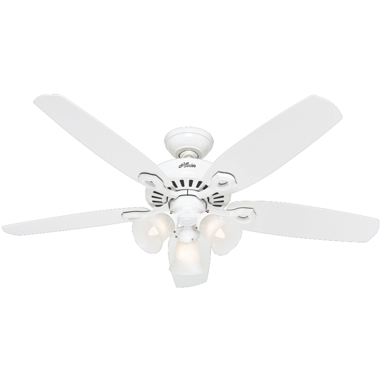 Hunter Indoor Ceiling Fan, with pull chain control - Builder Plus 52 inch, White, 53236