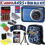 Canon PowerShot A495 10.1 MP Digital Camera (Blue) + 8GB Deluxe Accessory Kit