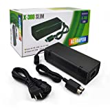 Power Supply for Xbox 360 Slim,YUDEG AC Adapter Replacement Charger Brick with Cable for for Xbox 360 Slim Console (Black) (Color: Black)