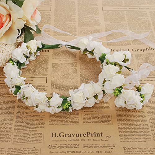 Meiliy Bridal Flower Garland Crown Flower Headband Hair Wreath Halo with Flower Wrist Corsage for Wedding Festivals (WHITE)