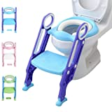 Potty Training Toilet Seat with Step Stool Ladder for Kid and Baby, Adjustable Toddler Toilet Training Seat with Soft Anti-Cold Padded Seat, Safe Handles and Non-Slip Wide Steps, Purple Blue for Boys (Color: Purple-Blue)