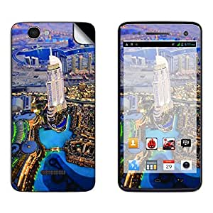 Skintice Designer Mobile Skin Sticker for Micromax Canvas 2 Colors A120, Design - Cityscape Dubai