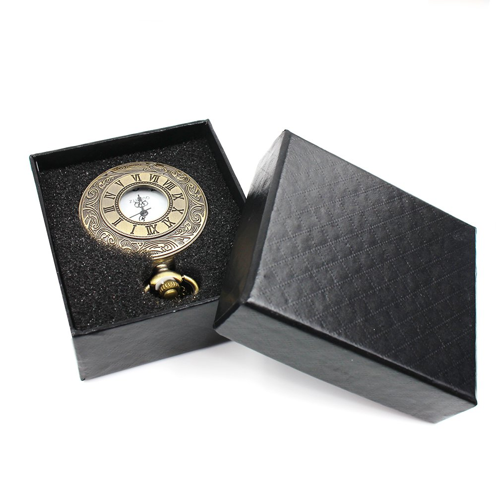 Mifine Antique Roman Pocket Watch Bronze Dial Open Faced Roman Numerals with Vintage Metal Rope 5