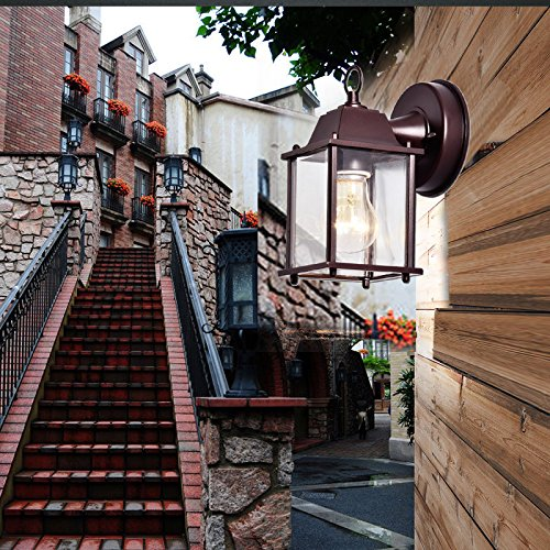 Truelite Vintage Style Outdoor Wall Sconce 1 Light Industrial Clear Glass Panels Wall Lanterns 4