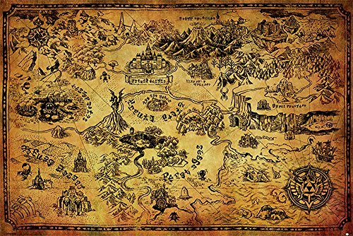 Poster The Legend Of Zelda, Hyrule Map + accessori