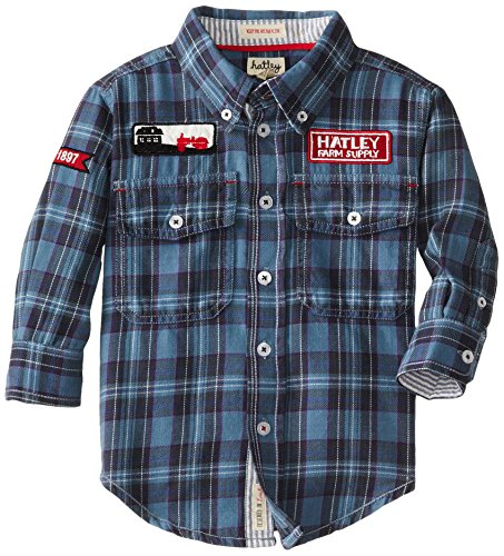 Hatley Little Boys' Button Down Shirt - Farmer Jack, Blue, 6 front-503063
