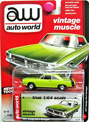 AUTO WORLD VINTAGE MUSCLE 1971 DODGE DART SWINGER TRUE 1:64 SCALE, GREEN