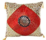 Embrace Cotton Blend Home Decorative Traditional Floral Printed Fringe Throw Pillow Cushion Cover Case Red