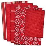 DII 100% Cotton, Machine Washable 5-Piece Everyday Kitchen Basic Dishtowel Set, Includes 4 Dishtowels And 1 Dishcloth, Oversized, Red