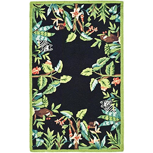 Safavieh Chelsea Collection HK295B Hand-Hooked Black and Green Wool Area Runner, 2-Feet 6-Inch by 4-Feet