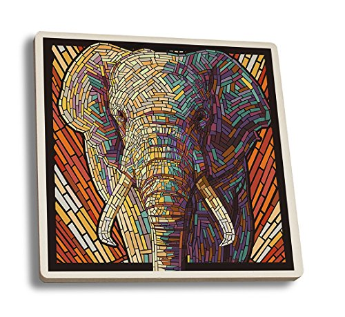 African Elephant - Paper Mosaic (Set of 4 Ceramic Coasters - Cork-backed, Absorbent)