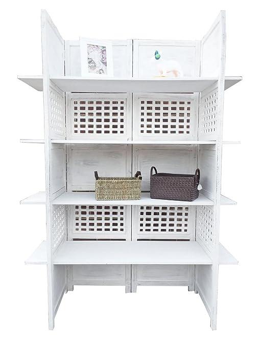 Display a 2 Vie, 4 pannelli, schermo 4 mensole-Libreria/divisorio per interni, colore: bianco
