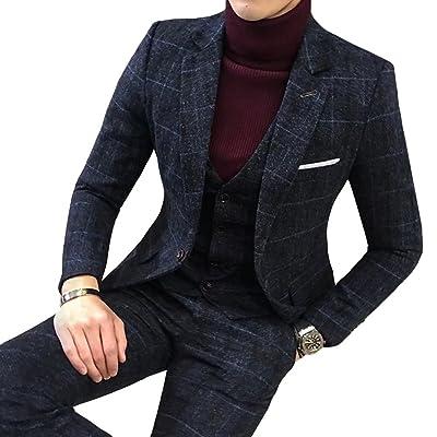 InitialG【イニシャルジー】スーツ メンズ ビジネススーツ 3ピーススーツ テーラードジャケット スラックス ベスト 紳士服 チェック柄 結婚式 スリム 008-dsjdc317-tz50