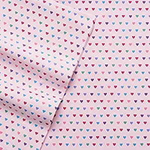 Cuddl Duds Pink Flannel Sheet Set - QUEEN Multi Hearts Print