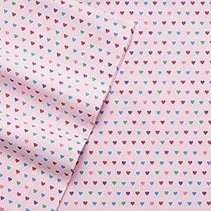 Cuddl Duds Pink Flannel Sheet Set - QUEEN Multi Hearts Print