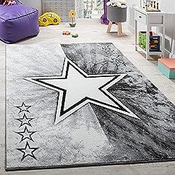 Teppich Kinderzimmer Stern Design Spielteppich Kinderteppich Kurzflor in Grau, Grösse:160x220 cm