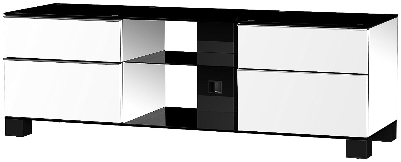 Sonorous MD 9340-B-HBLK-WHT Fernseher-Möbel mit Schwarzglas (Aluminium Hochglanz, Korpus Hochglanzdekor) weiß/schwarz